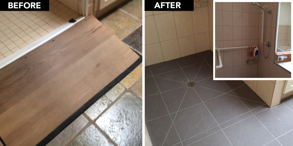 A new stepless entry was constructed for the shower to enable easy seamless access for Brodie and his carers. Safety grab rails from the bathroom leading into the shower were installed and a hand help shower rose to ensure a stress free and safe bathing experience for Brodie.